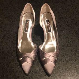 Nina Grey Satin Shoes